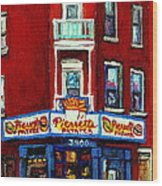 Verdun Landmarks Pierrette Patates Resto Cafe  Deli Hot Dog Joint- Historic Marquees -montreal Scene Wood Print