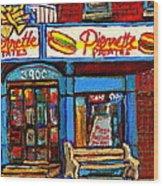 Verdun Restaurants Pierrette Patates Pizza Poutine Pepsi Cola Corner Cafe Depanneur - Montreal Scene Wood Print