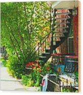 Verdun Stairs Red Flowers On Winding Staircase Tall Shade Tree Montreal Summer Scenes Carole Spandau Wood Print
