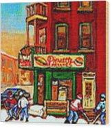 Verdun Street Hockey Pierrettes Restaurant Rue 3900 Verdun -landmark Montreal Hockey Art Work Scenes Wood Print