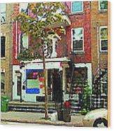 Verdun Variety Store Summer Street Scene Montreal Depanneur Double Staircases Carole Spandau Wood Print