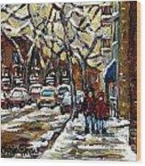 Verdun Winter Row Houses In January Montreal Paintings Time For A Walk Carole Spandau Wood Print
