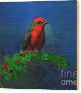 Vermilion Flycatcher In Las Frailes Wood Print