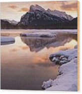 Vermillion Lakes In Banff National Park Wood Print
