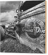 Vermin's Diner Rat Rod In Black And White Wood Print
