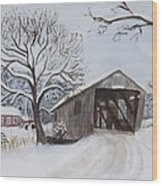 Vermont Covered Bridge In Winter Wood Print
