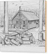 Vermont Hunter Lodge Wood Print