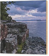 Vermont Lake Champlain Sunset Clouds Shoreline Wood Print