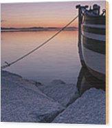 Vermont Lake Champlain Sunset Nautical Boat  Wood Print