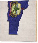 Vermont Map Art With Flag Design Wood Print