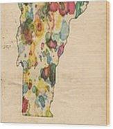 Vermont Map Vintage Watercolor Wood Print