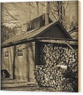 Vermont Maple Sugar Shack Circa 1954 Wood Print by Edward Fielding