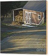 Vermont Maple Sugar Shack Sunset Wood Print by Edward Fielding