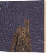 Vermont Night Star Trail Wood Pier Wood Print