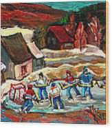 Vermont Pond Hockey Scene Wood Print by Carole Spandau
