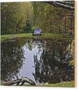 Vermont Pond In Autumn Wood Print