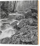 Vermont River Fog Mount Mansfield Black And White Wood Print