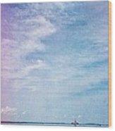 Vermont Summer Beach Boats Clouds Wood Print