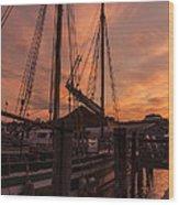 Vermont Sunrise Boats Pier Lake Champlain Wood Print