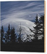 Vermont Tree Silhouette Clouds Cloudscape Wood Print
