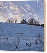 Vermont Winter Hill Wood Print