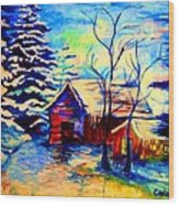 Vermont Winterscene In Blues By Montreal Streetscene Artist Carole Spandau Wood Print