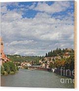 Verona Adige River View Toward Castel San Pietro Wood Print