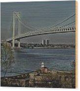 Verrazano Bridge And Fort Wadsworth Wood Print