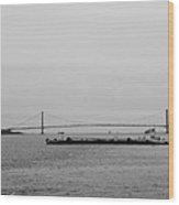 Verrazano Bridge In Black And White Wood Print