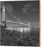 Verrazano-narrows Bridge Bw Wood Print