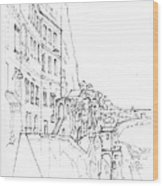 Vertical Amalfi Pencil And Ink Sketch Wood Print