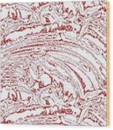 Vertical Panoramic Grunge Etching Burgundy Color Wood Print