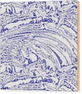 Vertical Panoramic Grunge Etching Royal Blue Color Wood Print