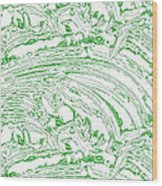 Vertical Panoramic Grunge Etching Sage Color Wood Print