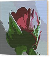 Vertical Rose Painting Style Wood Print