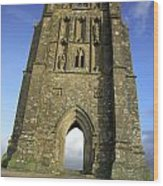 Vertical View Of Glastonbury Tor Wood Print