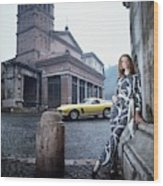 Veruschka Von Lehndorff Standing In Piazza Di San Wood Print