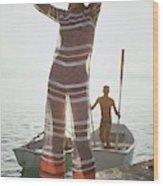 Veruschka Von Lehndorff Wearing Jumpsuit Wood Print
