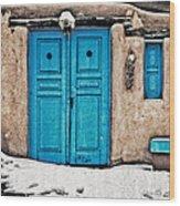 Very Blue Door Wood Print