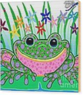 Very Happy Spotted Frog Wood Print by Nick Gustafson
