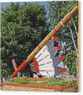 Very Large Pipestone Pipe Sculpture By Former Rock Island Line Railroad Depot In Pipestone-minnesota Wood Print
