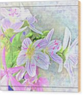 Very Tiny Wildflower Boquet Digital Paint Wood Print