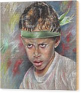 Very Young Maori Warrior From Tahiti Wood Print