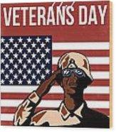 Veterans Day Greeting Card American Wood Print