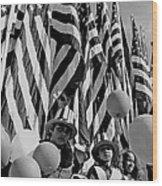 Veteran's Day Parade University Of Arizona Tucson Black And White Wood Print