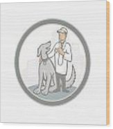 Veterinarian Vet With Pet Dog Cartoon Wood Print
