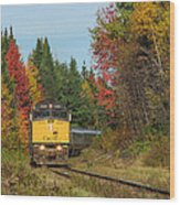 Fall Colours With Train Wood Print