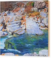 Vibrant Colored Rocks Verzasca Valley Switzerland II Wood Print