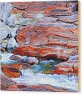 Vibrant Colored Rocks Verzasca Valley Switzerland Wood Print