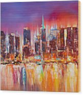Vibrant New York City Skyline Wood Print